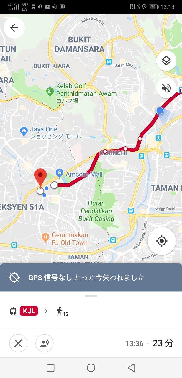 タマンジャヤ行きグーグルマップ